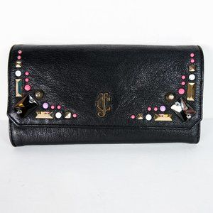 Juicy Couture Jeweled Trifold Leather Wallet